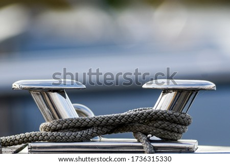 Modern polishing on a yacht with a rope. Imagine de stoc ©