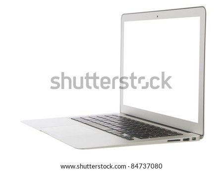 Modern popular business laptop notebook computer, light weight with clipping path and white screen isolated on a white background - stock photo