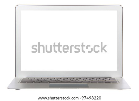 Modern popular laptop keyboard with white screen isolated on a white background