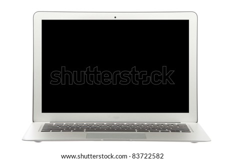 Modern popular  laptop thin and light with clipping path and black screen isolated on a white background