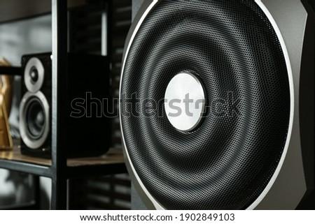 Modern powerful subwoofer indoors, closeup. Audio speaker system Сток-фото ©