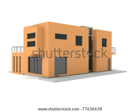 Modern private orange house exterior isolated over white 3d - stock photo