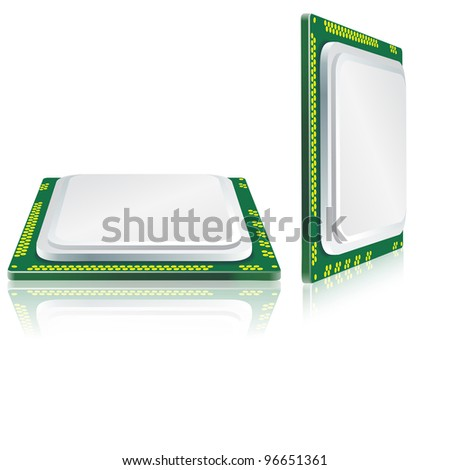 Modern processor with reflection. Vector version also available in portfolio.