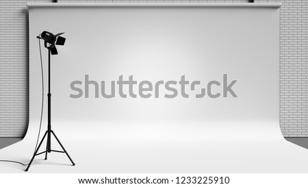 Modern professional photo studio background with lights and equipment. 3d illustration