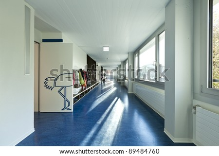 modern public school,  corridor blue floor