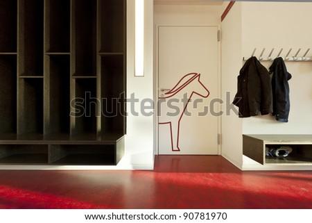 modern public school, corridor red floor