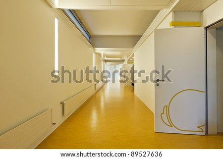 modern public school, corridor yellow floor
