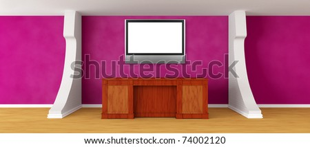 Modern purple reception with flat TV