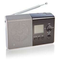 Modern radio transmitter isolated on white background with clipping path and shadows.