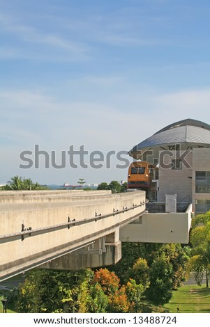 Modern Railway Train Station With blue skies and greenery