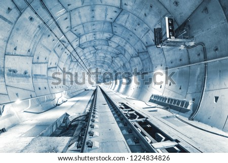Modern railway tunnel during construction. Ejpovicke tunely/Ejpovice tunnels. Installation of the signal for trains