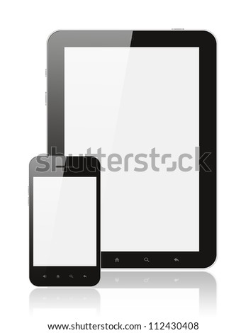 Modern realistic digital tablet PC with smartphone on white background