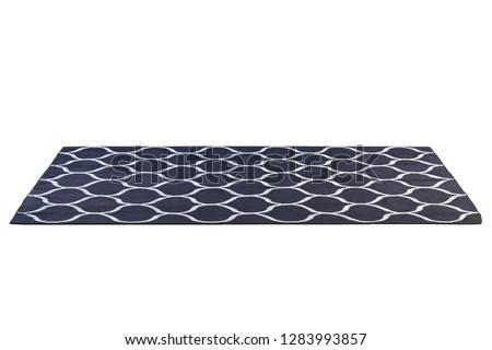 Modern rectangular dark blue rug with gray geometric pattern on white background. 3d render