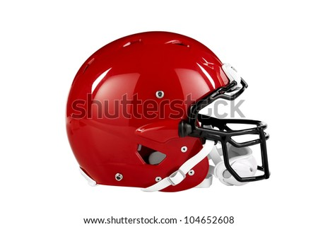 Modern red American Football helmet side view with clipping path