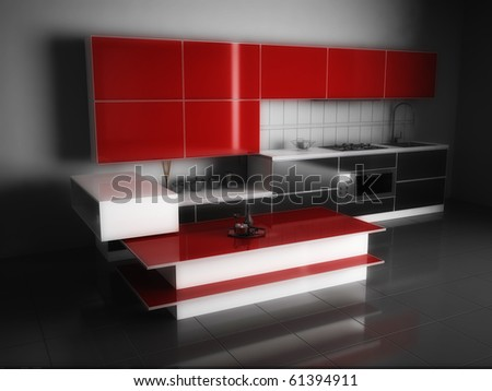Modern Red And Black Kitchen Stock Photo 61394911 : Shutterstock