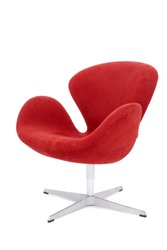 modern red chair isolated on white background