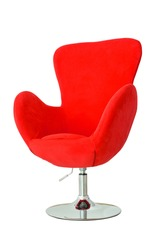 Modern red chair isolated white background
