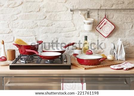 Modern red kitchen Foto d'archivio ©
