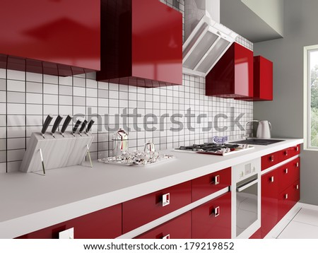Modern red kitchen with sink gas stove interior 3d
