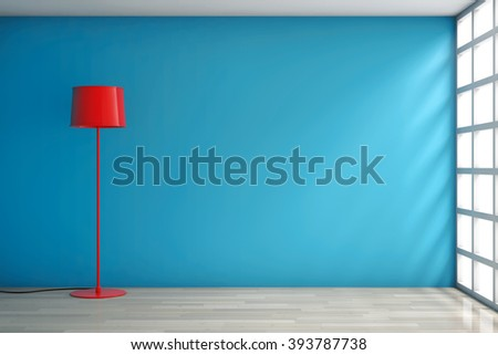 Modern Red Lamp against a blank blue wall in room