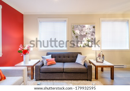 Modern red living room interior design with sofa, armchair, and two side tables  #179932595