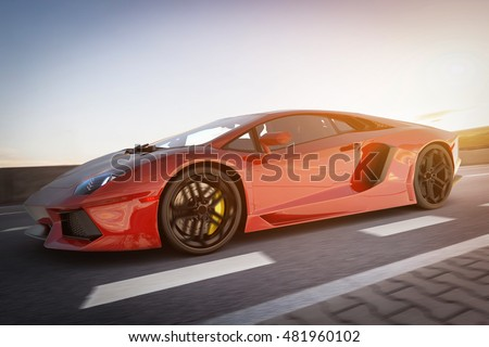 Modern red metallic sports car driving fast on the road. Generic desing, brandless. 3D rendering.