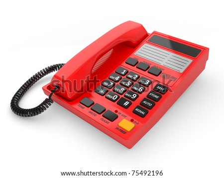 Modern red office telephone on a white background.