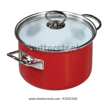 Modern red saucepan on a white background