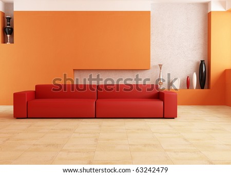 modern red sofa in a orange living room