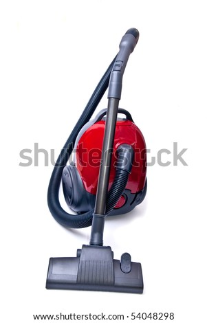 Modern red vacuum cleaner isolated on white background