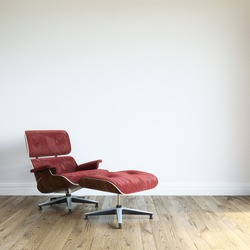 Modern Red Velvet Armchair With Ottoman In White Wall Interior Room