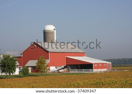 modern red Wisconsin farm