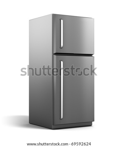 Modern refrigerator isolated on white. My own design