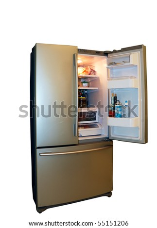 Modern refrigerator with food