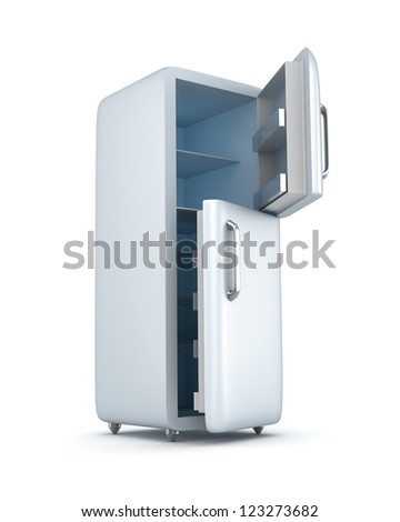 Modern refrigerator with opened doors. Isolated on white
