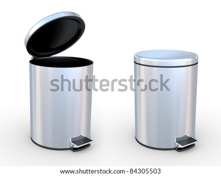 Modern refuse bin on a white background