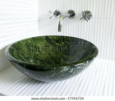 Vessel Sinks Bathroom on Bathroom With Tempered Glass Green Marble Imitation Vessel Sink