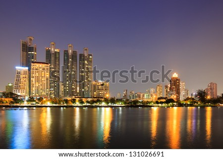 Modern residential area at twilight in Bangkok, Thailand