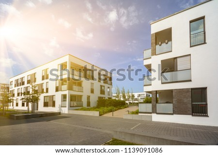 Modern residential area with apartment buildings in a new urban development
