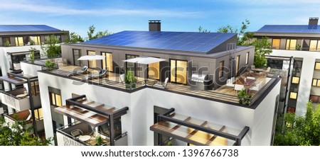 Modern residential building with solar panels on the roof. 3d rendering