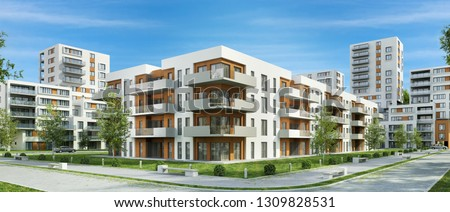 Modern residential buildings in the city. 3D rendering Foto stock ©