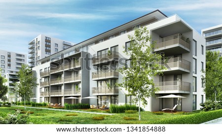 Modern residential buildings in the city. 3D rendering