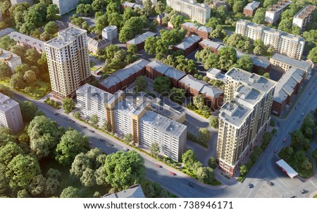 Modern residential complex;Bird's-eye view; 3D render, 3D illustration; 300 dpi