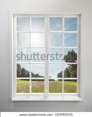 Modern residential window and trees and sky behind
