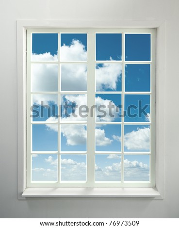 Modern residential window with clouds (includes clipping path)