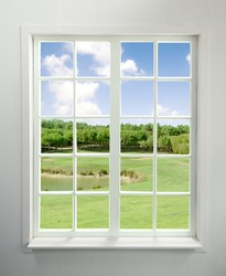 Modern residential window with lake view (includes clipping path)