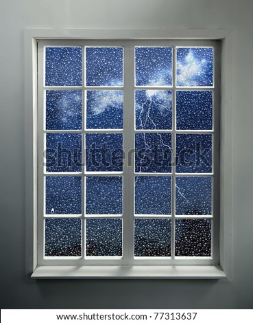 Modern residential window with lightning and rain behind (includes clipping path)