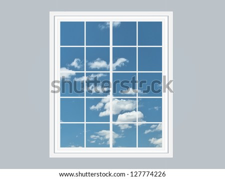 Modern residential window with refreshing blue sky and clouds