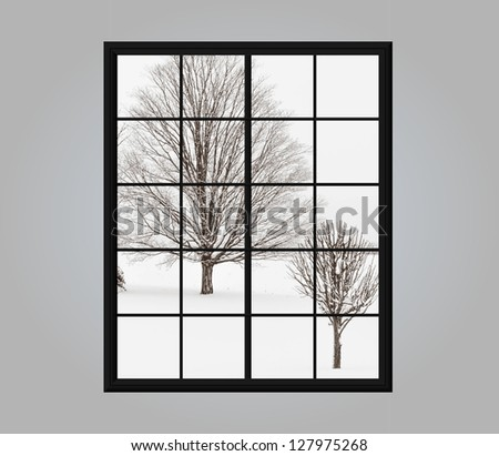 Modern residential window with snow covered winter view outside
