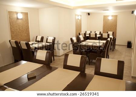 modern restaurant empty in brown elegant style